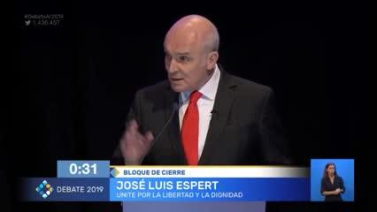 Video: José Luis Espert cierra su intervención en el segundo debate presidencial