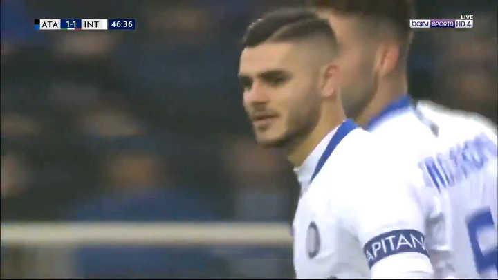 Mauro Icardi convirtió de penal el transitorio empate del Inter frente a Atalanta