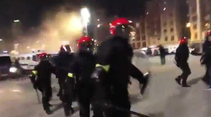 Incidentes en Bilbao, en la previa del partido entre Athletic y Spartak de Moscú. (@Josebaest1)