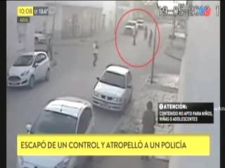 En moto, atropelló a un policía para evitar un control