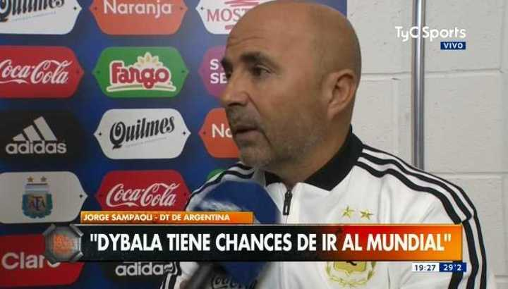 "Sampaoli: ""Dybala tiene chances de ir al Mundial"""