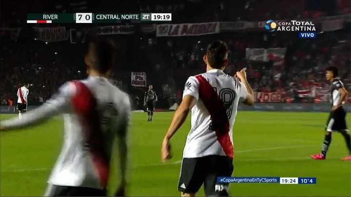 River Plate 7 - Central Norte 0. Santos Borré suma uno mas a la goleada de River - Copa Argentina 2018
