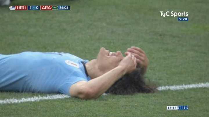 Cavani perdió una chance clarísima para Uruguay - Mundial Rusia 2018