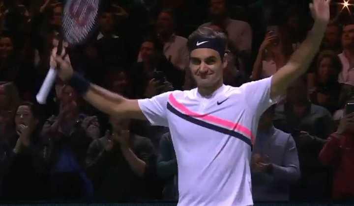 El punto decisivo y el festejo de Roger Federer por su victoria ante Grigor Dimitrov.
