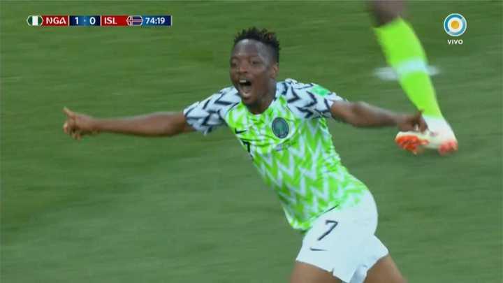 Nigeria 2 - Islandia 0. Segundo gol de Nigeria -Mundial Rusia 2018