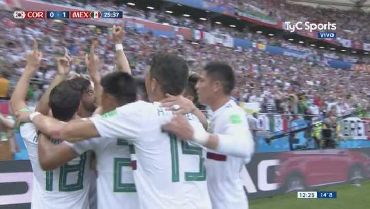 Corea del Sur 0 - México 1. De penal llegó el 1 a 0 de Mexico - Mundial Rusia 2018