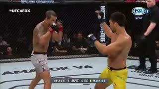Lyoto Machida destroza a Vitor Belfort con una patada frontal en UFC 224. (Fox Sports)