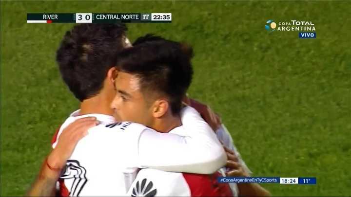 River Plate 3 - Central Norte 0. Otro gol de Scocco y River golea a Central Norte - Copa Argentina 2018