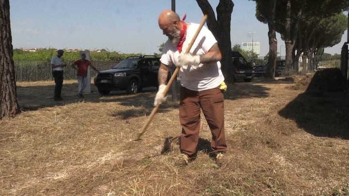 Convictos romanos ayudan a mantener los parques de la ciudad.