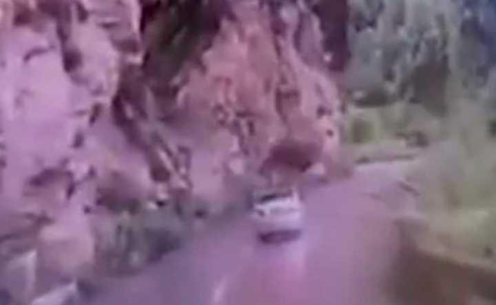Les cayó una piedra de la montaña y milagrosamente se salvaron