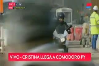 Así llegaba Cristina Kirchner a los tribunales de Comodoro Py