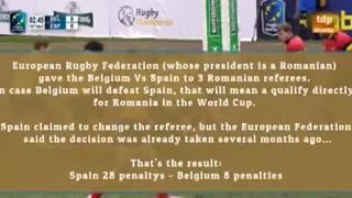 Polémico arbitraje en el partido de rugby entre España y Bélgica en 2018.