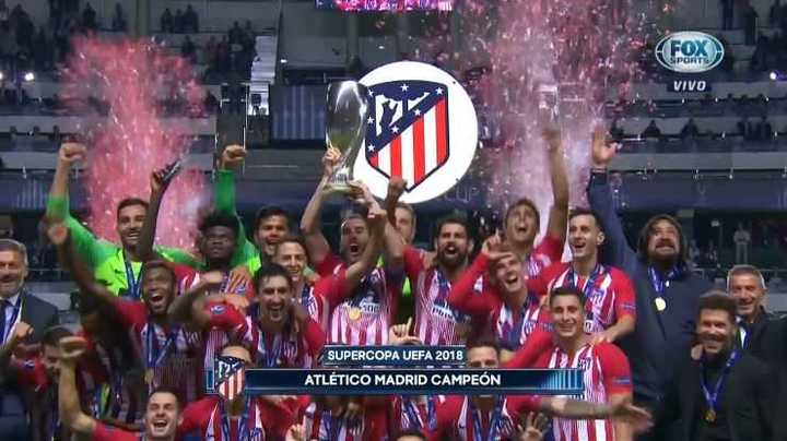 Atlético de Madrid celebró la obtención de la Supercopa de Europa