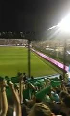 Los pañuelos verdes aparecieron en la popular durante el partido entre Argentina y Panamá.