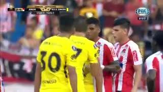 La jugada anulada contra Boca que terminaba en gol de Pablo Pérez. (Fox Sports)
