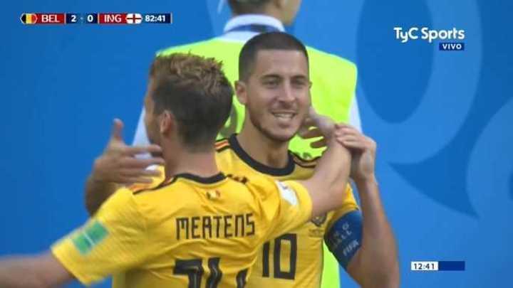 Bélgica 2 - Inglaterra 0. Hazard marcó el segundo de Bélgica - Mundial Rusia 2018