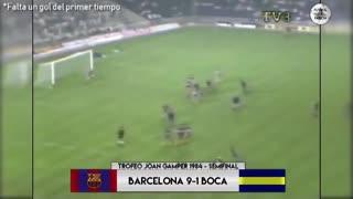 Los goles del doloroso 9-1 del Barcelona a Boca en 1984
