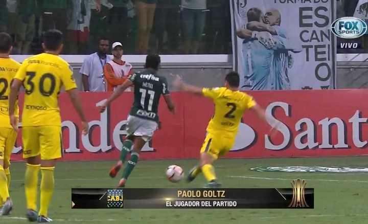 La lesión de Paolo Goltz contra Palmeiras. (Fox Sports)
