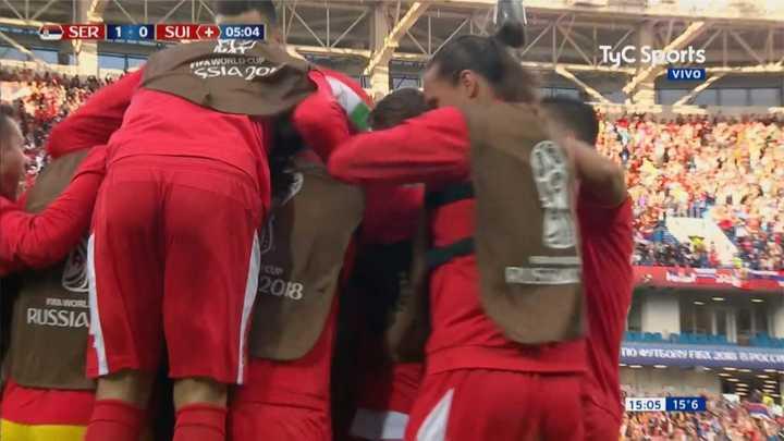 Serbia 1 - Suiza 0. Primer gol de Serbia - Mundial Rusia 2018