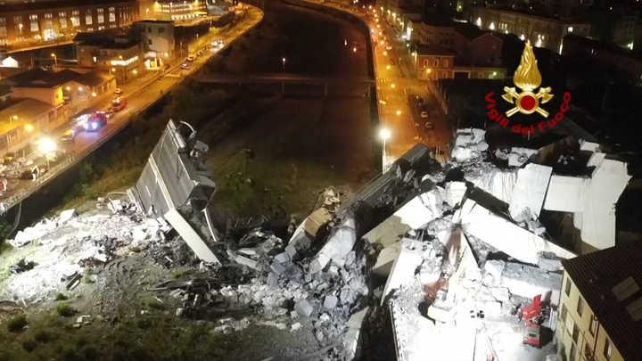Desastre en Génova: nuevas tomas de dron muestran en detalle lo que quedó del puente