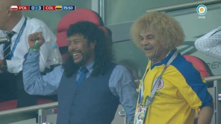 Higuita y Valderrama festejan el tercer gol de Colombia - Mundial Rusia 2018