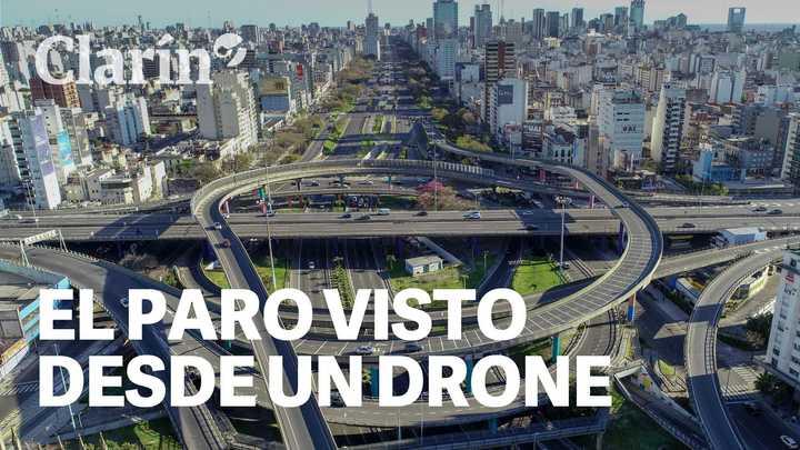 Buenos Aires, día de paro: la ciudad vacía vista desde un drone
