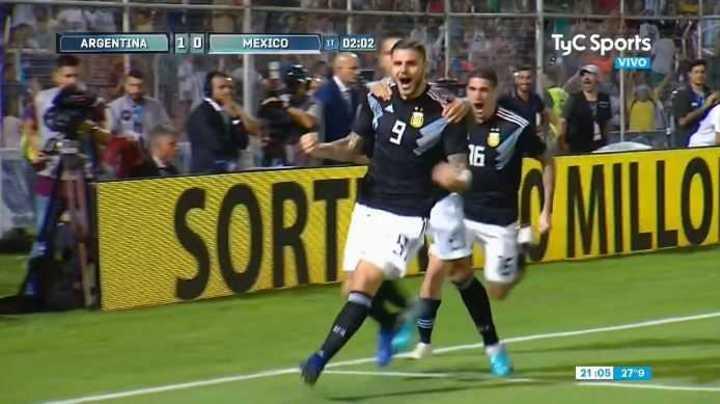 Icardi marcó el 1 a 0 frente a México al minuto de juego