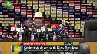 La conferencia de prensa de Diego Maradona tras la primera victoria de Dorados de Sinaloa