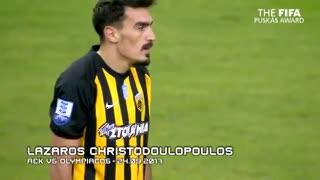 El tiro libre de Lazaros Christodoulopoulos al ángulo para competir por el Premio Puskas.