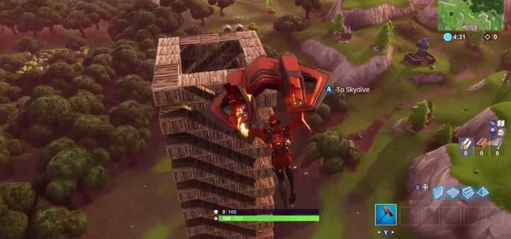 La sofisticada torre espiralada que construyó un jugador de Fortnite