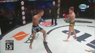 Ricky Bandejas le da una paliza a James Gallagher en Bellator 204. (Fox Sports)