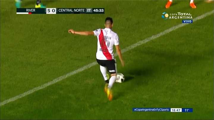 River Plate 5 - Central Norte 0. Exequiel Palacios metió el quinto gol de River - Copa Argentina 2018