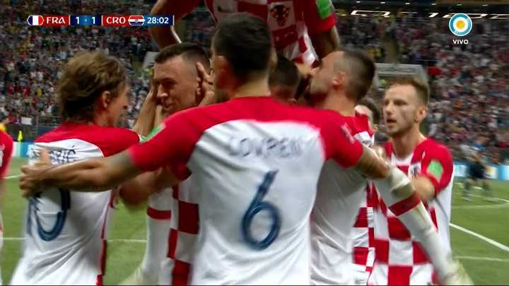 Francia 1 - Croacia 1 - Perisic lo empató de volea - Mundial Rusia 2018