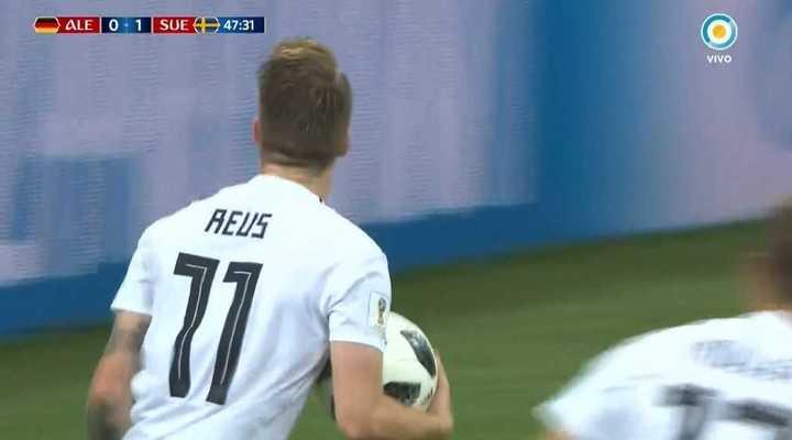 Alemania 1 - Suecia 1. Reus marcó el empate de Alemania - Mundial Rusia 2018