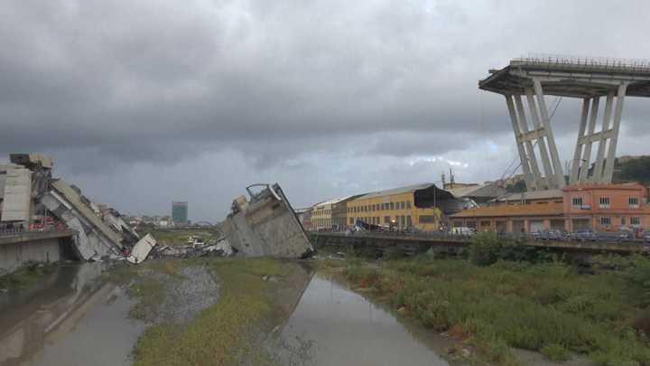 El escenario de la tragedia: Así quedó el puente que se desplomó en Génova