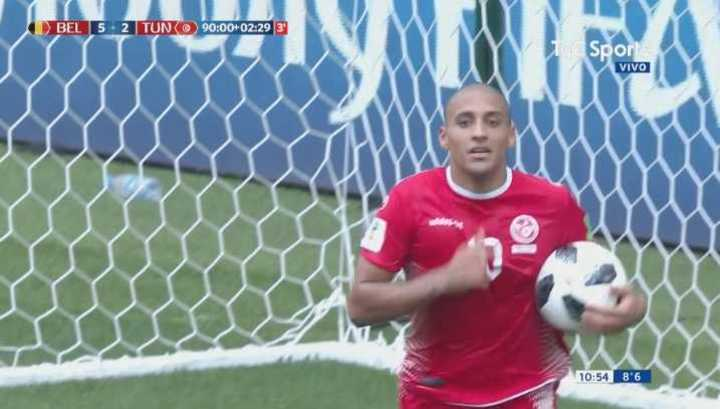 Bélgica 5 - Túnez 2. Gol de Túnez para descontar en el final - Mundial Rusia 2018