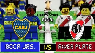 El Boca River de la ida de la Superfinal, recreada con Lego.