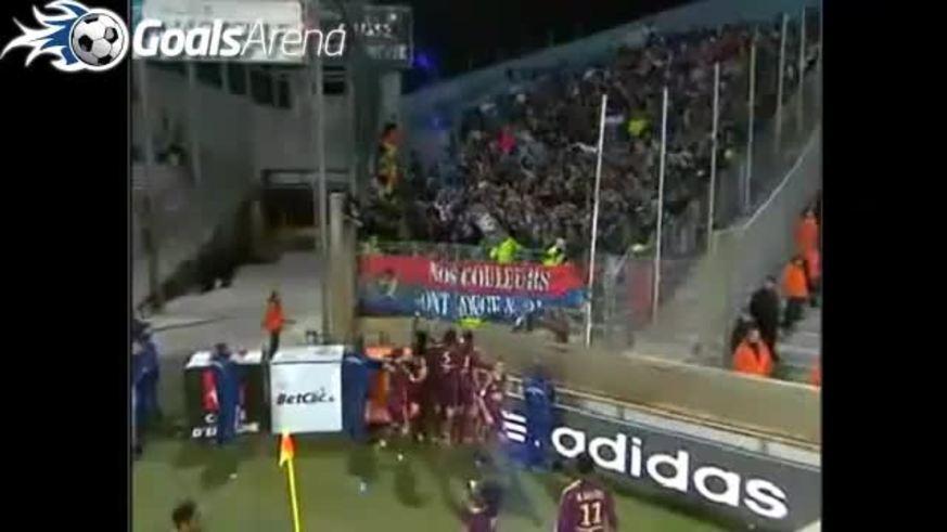 Lisandro López y su gol ante el Marsella. (Youtube)