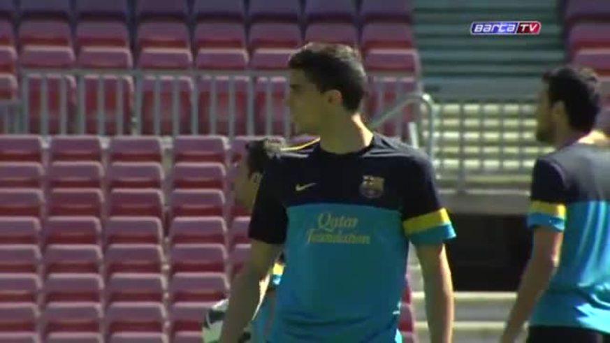 Messi, feliz, en la práctica del Barcelona