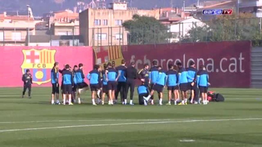 Divertido juego en la práctica del Barcelona.