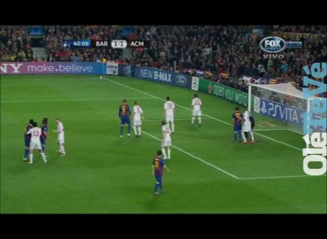 Messi marcó el 2 a 1 para el Barcelona.