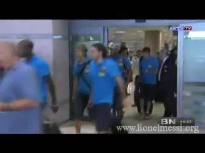 Messi causó revuelo en su llegada a Seúl.