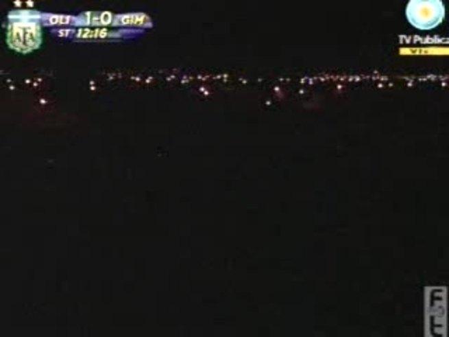 El apagón que dejó a oscuras el Roberto Carminatti. (Canal 7)