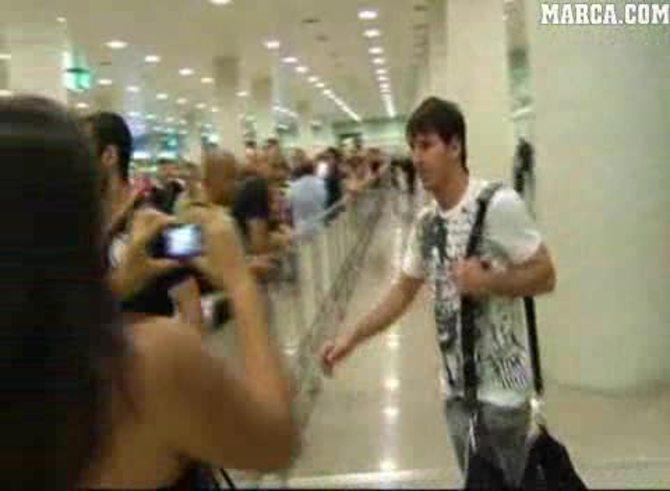 La llegada de Messi y Masche a Barcelona. (Marca)