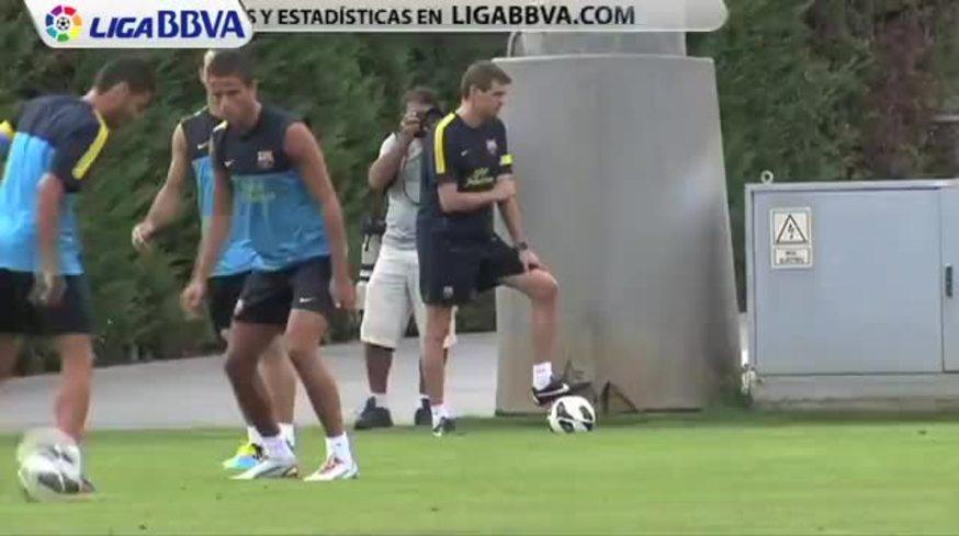 Mirá el blooper de Pinto y Sánchez en el entreno del Barsa.