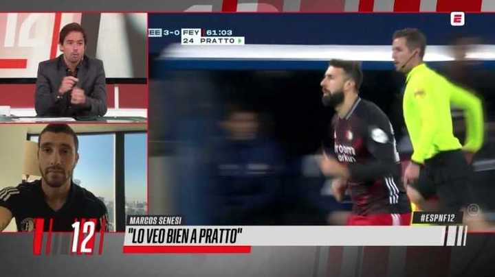 Marcos Senesi sobre cómo lo ve a Lucas Pratto en Feyenoord