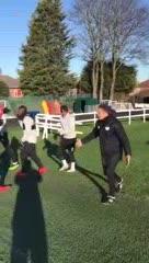 Divertido entrenamiento en Leicester City