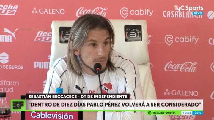 Sebastián Beccacece habló en conferencia sobre Pablo Pérez, Nico Domingo y sus plazos en la dirección técnica de Independiente