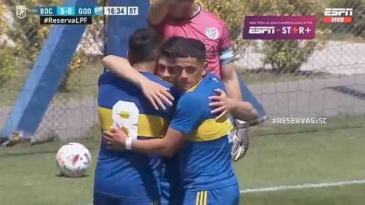 Los seis goles de la Reserva de Boca ante Godoy Cruz