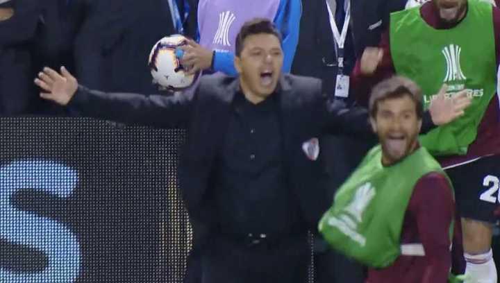 El festejo de Gallardo cuando finalizó el partido